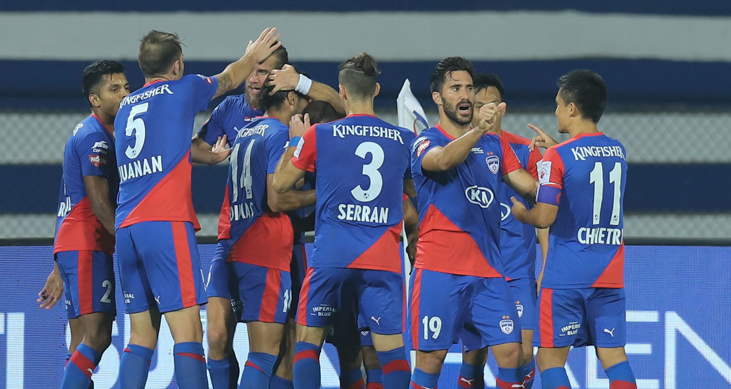 Bengaluru FC players celebrate after Erik Paartalu gives them the lead
